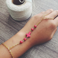 Red + Gold Cross Hand Chain