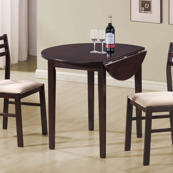 "Cappuccino 3Pcs Dining Set With A 36""Dia Drop Leaf Table"