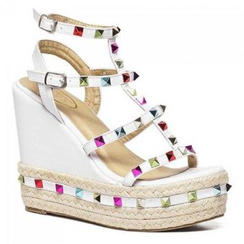 Stylish Colorful Rivet and Wedge Heel Design Sandals For Women - White 37