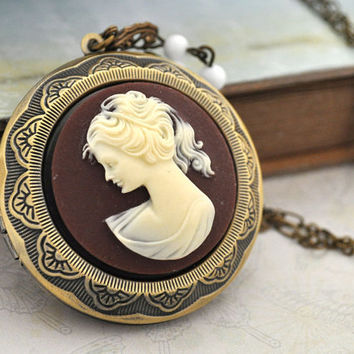 antique brass locket, COURT LADY LOCKET, large pendant, vintage cameo, long chain