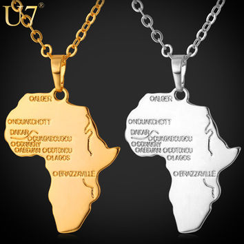 "U7 Africa Pendant ""18KGP"" Stamp Platinum/18K Real Gold Plated Trendy Women African Map Pendant Necklace Hiphop Men Jewelry P544"