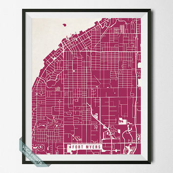 Fort Myers Print, Florida Map Poster, Fort Myers Street Map, Florida Print, Dorm Decor, Wall Art, Office Decor, Back To School