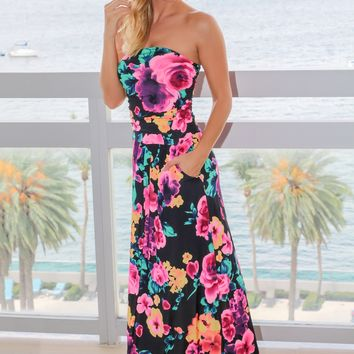 Black and Hot Pink Floral Strapless Maxi Dress