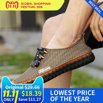 Sport Men Summer Walking Shoe Breathable Air Mesh Outdoor Shoes Handmade Moccasins Sneakers Autumn Lazy Shoelace Brown Footwear