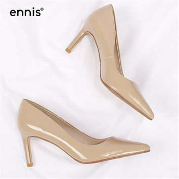 ENNIS 2018 Patent Cow Leather High Heel Shoes Pointed Toe Thin Heel Office Shoes Female Pumps Sheepskin Soft Footwear Shoes P746