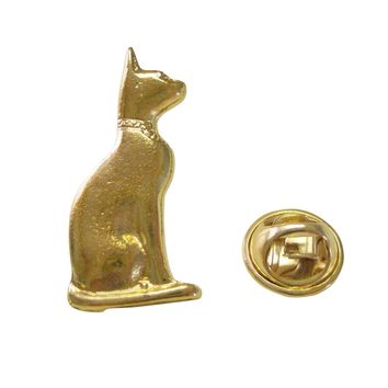 Gold Toned Egyption Cat Lapel Pin
