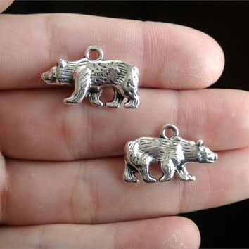 4Pcs Silver Popular polar bear 25*15mm DIY Retro Jewelry Bracelet Necklace pendant Free Shipping