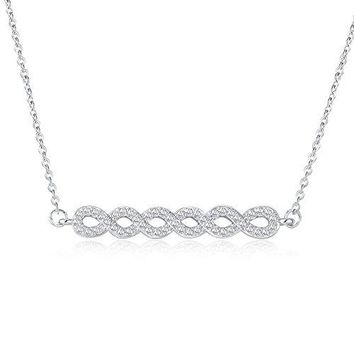 Cubic Zirconia Braided Pendant Necklace - Simple Horizontal Bar Necklaces for Women