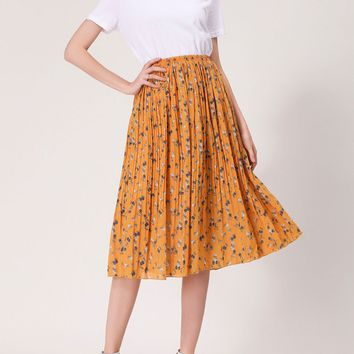Streetstyle  Casual Captivating Elastic Waist Printed Pleated Chiffon Midi Skirt