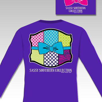 SALE Sassy Frass Collection Preppy Quilt Bow Long Sleeve Bright Girlie T Shirt