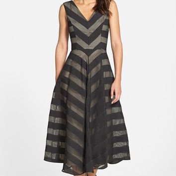 Women's Maggy London Check Stripe V-Neck Fit & Flare Dress,