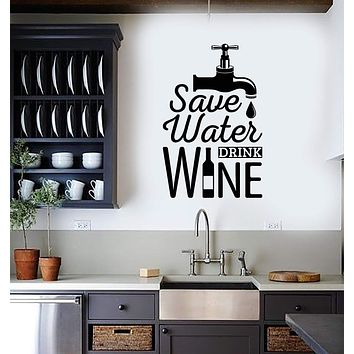 Vinyl Wall Decal Funny Alcohol Wine Quote Save Water Bar Decoration Stickers Mural (ig5515)