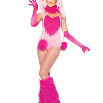 Pink Faux Fur Monster Bodysuit Costume