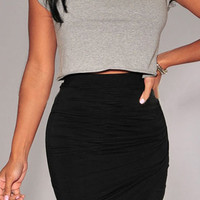Black Asymmetrical Wrap Skirt