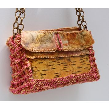 Birch bark with hand knit and cashmere felt accents shoulder clutch hand bag purse.