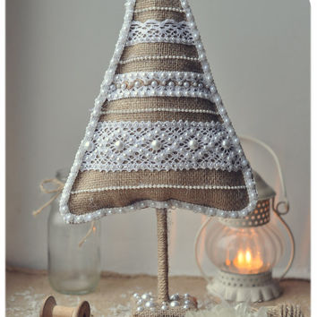 "Rustic Christmas home decor - OOAK Christmas tree ""burlap with lace"" - eco-friendly - rustic home decor"