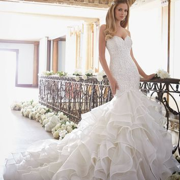 Mori Lee 2879 Strapless Lace Mermaid with Ruffle Bottom Wedding Dress