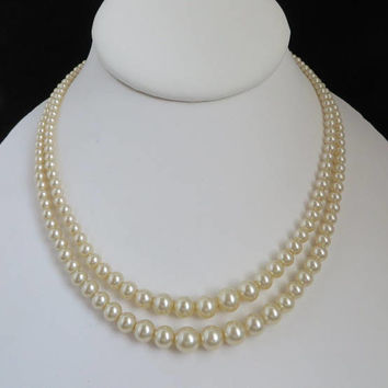 Faux Pearl Sterling Silver Necklace, Vintage Double Strand Classic Necklace, Bridal Jewelry