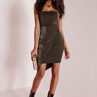 Missguided - Lurex Bandeau Bodycon Dress Copper