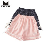Summer Girls Shorts Pink&Navy blue Plaid Bandage Lace up Childish Cute Kawaii Women Teens Wide leg Casual Preppy style Bottoms