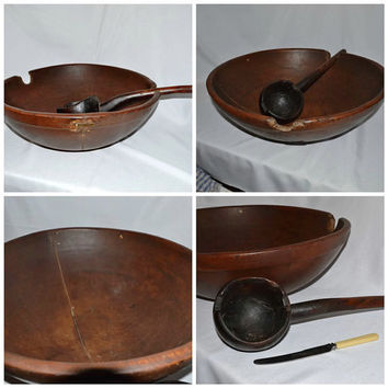 Early American Hand Carved Wood Treenware Bowl w/ Burl Wood Ladle - Early 19th Century - Large Museum Quality Primitive - RARE Find!