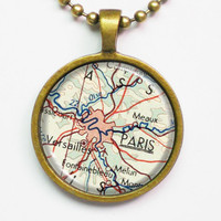 Personalized Paris Necklace -Paris Pendant Necklace -France, Europe, Vintage Map Pendant Series