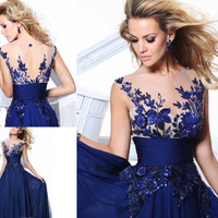 Stock New Long Blue Chiffon Appliques Formal Prom Evening Party Bridesmaid Dress