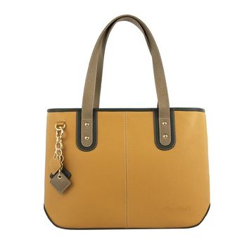 Picnic Leather Handbag- Goldenrod/Olive Green