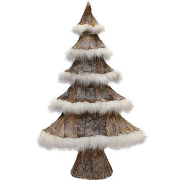 "31"" Nature's Luxury Brown Bark and White Faux-Fur Decorative Christmas Tree"