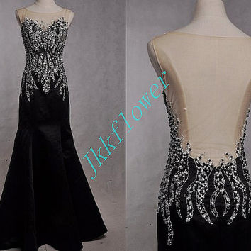 Long Black Backless Mermaid Evening Dresses,Stunning Beaded Sequined Prom Dresses,Long Bridesmaid Dresses,Homecoming Dresses