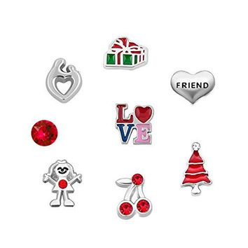 QampLocket Love Friend Red CZ Floating Charms Set Fit Memorial Glass Locket Bracelet ampNecklace