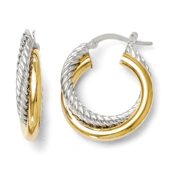 6mm Polished & Twisted Crossover Hoop Earrings in 14k Two Tone Gold