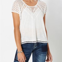 White Crochet Droplets Top