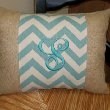 Village  Blue Chevron  Print and burlap pillow   Other colors available, personalized pillow, decorative pillow, monogrammed pillow