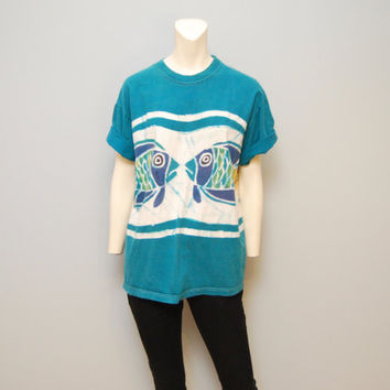 Vintage T-Shirt 1990's Shit Tie-Dye Tropical Fish Tshirt Size Large 90's Beach T Shirt Turquoise and Purple Tee Hippie Boho Retro