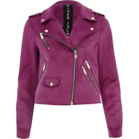 Purple faux suede biker jacket - Jackets - Coats & Jackets - women
