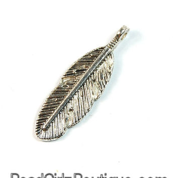 Feather Antique Silver Pewter Charm -2