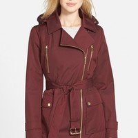 Women's MICHAEL Michael Kors Sateen Asymmetrical Zip Trench Coat with Removable Hood & Liner ,