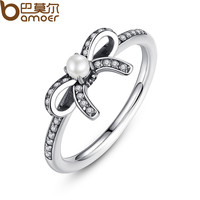925 Sterling Silver Delicate Sentiments Finger Ring with White Pearl & Clear CZ Original Fine Jewelry PA7160