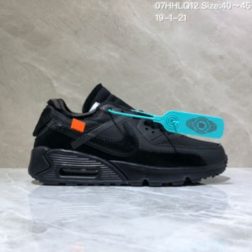 DCCK N1002 Off White x Nike Air Max 90 Air Cushion Casual Sports Running Shoes Black