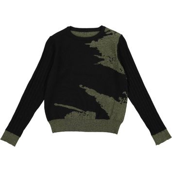 Resort Boys' Olive Two Tone Jacquard Crewneck Sweater
