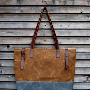 Waxed canvas tote bag / carry all with  leather handles and double waxed canvas bottom COLLECTION UNISEX