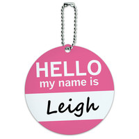 Leigh Hello My Name Is Round ID Card Luggage Tag