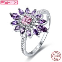 Jrose Flower Style Pink CZ & 100% 925 Sterling Silver Promise Wedding Ring 4.85 Carats Love Engagement Rings for Women