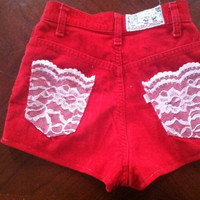 High Waisted Red Levi's Custom Shorts