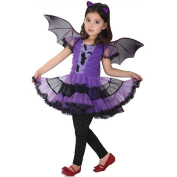 Bat Girl Costume Children Cosplay Dance Dress cape cloak Costumes for Kids little witch Children'Day Halloween