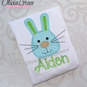 Boys Easter Shirt, Boys Easter Rabbit Shirt, Easter Bunny Shirt, Embroidered Applique Shirt or Bodysuit