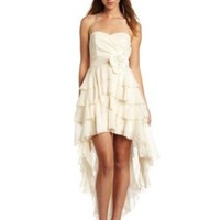 Teeze Me Juniors Strapless Tiered Chiffon Hi-lo Dress, Ivory, 5
