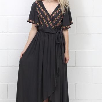 Picture Perfect Floral Embroidery Surplice Wrap Maxi {Charcoal}
