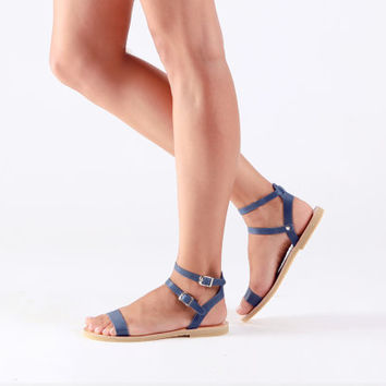 Sandals, Leather sandals, Greek sandals , Summer sandals, Blue women sandals, ELECTRA
